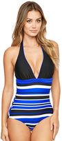 Figleaves Tuscany Stripe Halter Tummy Control Swimsuit - Longer Length