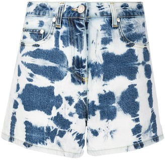 MSGM Tie-Dye Print Denim Shorts