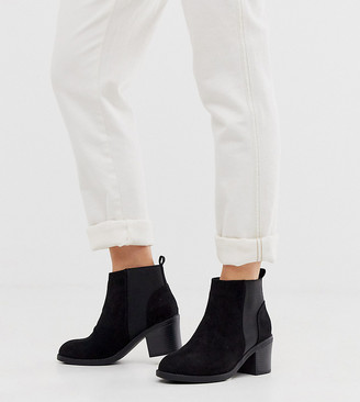 New Look Wide Fit suede heeled chelsea boots in black