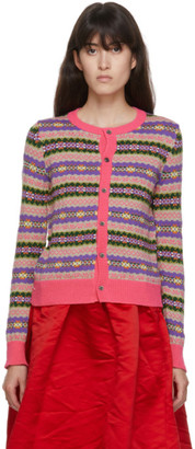 COMME DES GARÇONS GIRL Pink Wool Jacquard Cardigan
