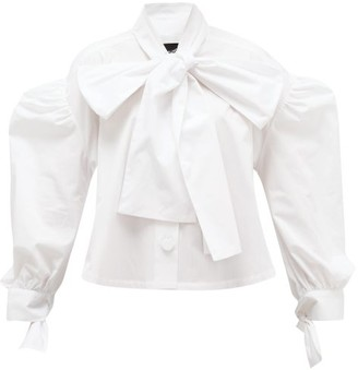 Elzinga - Tie-neck Cotton-poplin Shirt - White