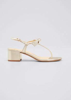 Alexandre Birman Clarita Metallic T-Strap Block-Heel Sandals