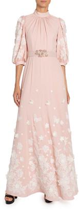 Andrew Gn Floral-Applique Silk Mock-Neck Gown