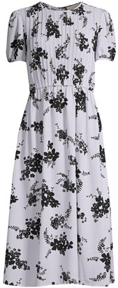 MICHAEL Michael Kors Floral-Print Pintuck Maxi Dress