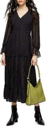 Topshop Dotted V-Neck Shirred Midi Dress