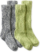L.L. Bean Women's Cotton Ragg Camp Socks,Two-Pack