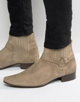 Asos Chelsea Boots In Stone Suede With Pointed Toe And Metal Detail