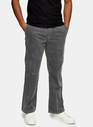 Topman Grey Wide Leg Corduroy Trousers
