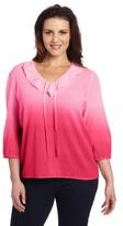 Caribbean Joe Women's Plus-Size Gauze Top with Ruffle Neck Line