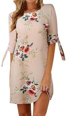 "Toamen Women's Dress Toamen Womens Fashion Floral Print Mini Dress - Bowknot Sleeves - Chiffon - Casual Evening Party Beach Dresses Sundress Princess Dress (Gray Size S/Bust 36.2"")"