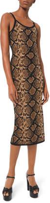 Michael Kors Stretch Metallic Python Slip Dress
