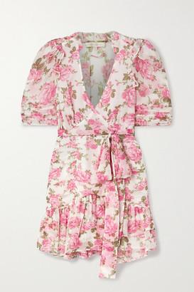 LoveShackFancy Arlo Belted Ruffled Floral-print Silk-georgette Mini Dress - White