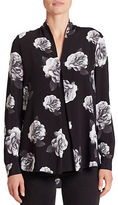 Lord & Taylor Petite Anna Floral-Print Pleated V-Neck Blouse