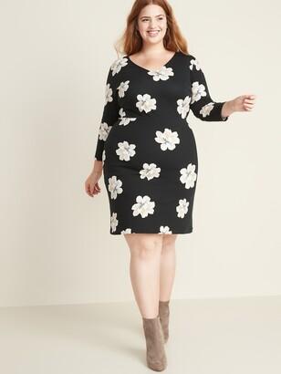 Old Navy Floral-Print Secret-Slim Plus-Size Sheath Dress