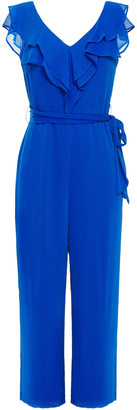 DKNY Cropped Belted Ruffled Crepon Jumpsuit