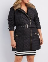 Charlotte Russe Plus Size Faux Fur-Trim Quilted Moto Jacket
