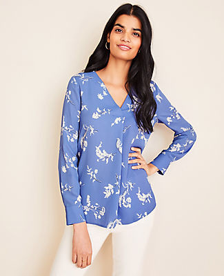 Ann Taylor Petite Floral Mixed Media Pleat Front Top