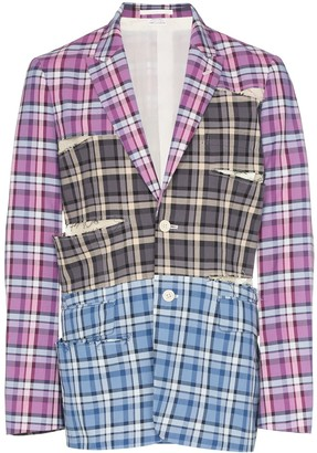 Comme des Garcons Checked sliced cotton blazer