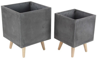 Brimfield & May Modern Square Fiber Clay Planters With Wooden Legs, 2-Piece Set, Black