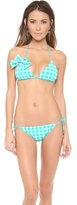 Juicy Couture Gingham Style Triangle Bikini Top