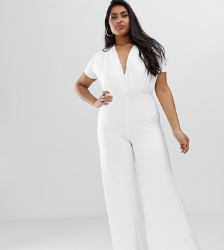 Koco & K Plus soft touch wide leg jumpsuit in white