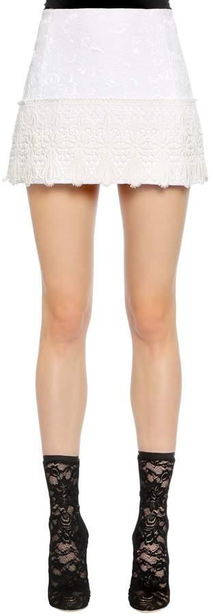 Dolce & Gabbana Brocade Mini Skirt W/ Lace Trim