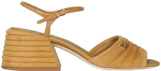 Fendi Slingback Chunky Mid-Heel Sandals