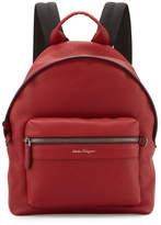 Salvatore Ferragamo Firenze Men's Grained Leather Backpack, Red