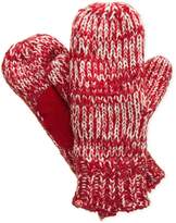 Isotoner Signature Marled Stripe Knit Mittens in Red