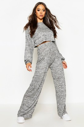 boohoo Oversized Slouchy Rib Cropped Top & Wide Leg Trouser Co-Ord