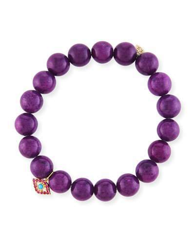 Sydney Evan 10mm Purple Mountain Jade Beaded Bracelet with Ruby & Turquoise Evil Eye Charm