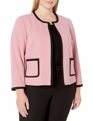 Nine West Women's Plus Size Jewel Neck Crepe Jacket Piping Detail