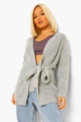boohoo Petite Tie Side Chunky Knit Midi Cardigan