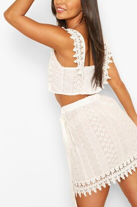 boohoo Broderie Lace Tie Back Top & Wrap Mini Skirt