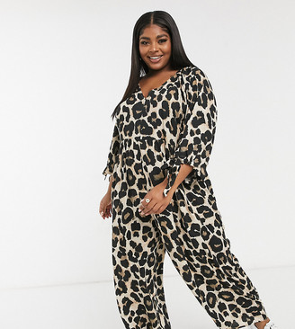 ASOS DESIGN Curve smock jumpsuit with tie sleeve detail in leopard print