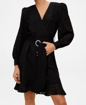 MANGO Belted Lace Dress
