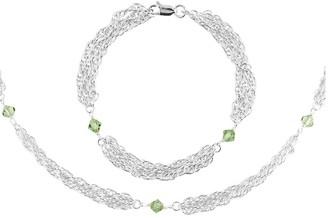 Sterling Multi-strand Chain Bracelet & NecklaceSet-Green