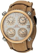 Adee Kaye Men's Quartz Stainless Steel and Leather Dress Watch, Color:Beige (Model: AK2275-RGSV/ TAN-Wide)
