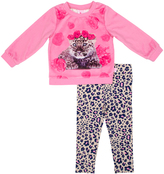 Pink Leopard Cub Crewneck Top & Gray Leopard Leggings - Infant