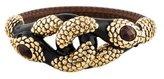 Roberto Cavalli Tiger's Eye Dual Serpent Embellished Bangle