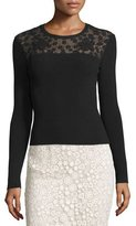 RED Valentino Long-Sleeve Ribbed-Knit Top w/ Floral Macrame Yoke, Black