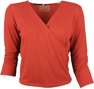 Lalipop Design Brick Red Double-Breasted Blouse