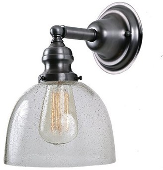 Breakwater Bay Shumway 1 - Light Dimmable Armed Sconce Finish: Gun Metal, Shade Color: Clear