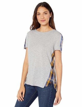 Vince Camuto Women's Uptown Plaid Mix Media Tee