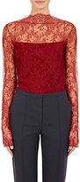 Nina Ricci Women's Sheer Floral Lace Top-BURGUNDY