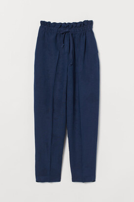 H&M Linen-blend Pull-on Pants - Blue