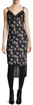 Diane von Furstenberg Margarit Printed Slip Dress, Army of Hearts Wild Rose/Black