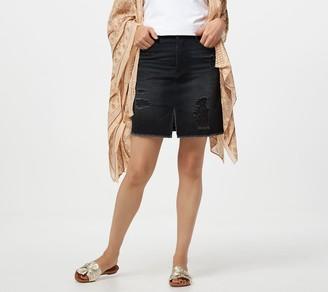 Rachel Hollis Ltd Black Distressed Denim Skirt