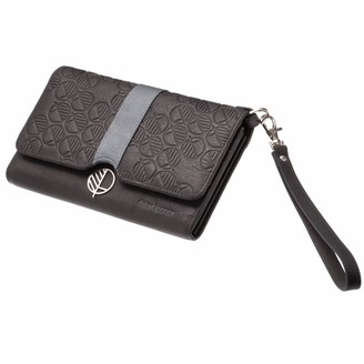 Drew Lennox Black & Silver English Leather Clutch Bag, Travel Wallet