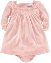 Ralph Lauren Newborn Girls 0-9 Months Velour Ruffled Dress